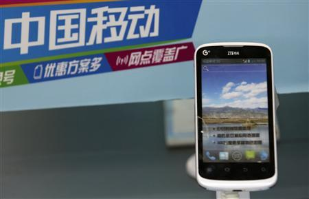 A ZTE phone is displayed at a mobile phone retail shop in Beijing, March 25, 2013. REUTERS/Kim Kyung-Hoon