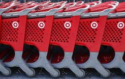 Shopping carts from a Target store are lined up in Encinitas, California May 22, 2013. REUTERS/Mike Blake