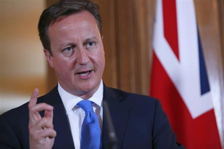 Britain's Prime Minister David Cameron answers a question during a joint news conference with Italy's Prime Minister Enrico Letta in 10 Downing Street in central London July 17, 2013. REUTERS/Andrew Winning