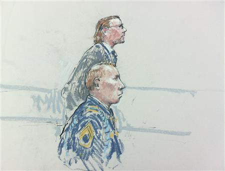 Courtroom sketch shows Army Staff Sergeant Robert Bales and attorney John Henry Browne (rear) who asks potential jurors questions during a pre-sentencing hearing in Tacoma, Washington, August 20, 2013. REUTERS/Peter Millet