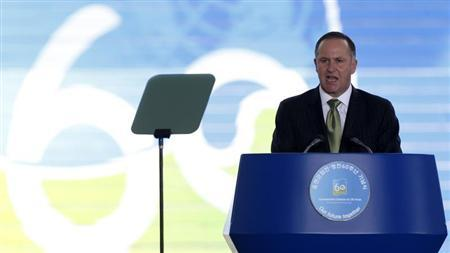 New Zealand's Prime Minister John Key delivers a speech during a commemorative ceremony of the 60th anniversary of Ceasefire Agreement and U.N. forces' Participation in the Korean War, at the War Memorial of Korea in Seoul July 27, 2013. REUTERS/Lee Jae-Won