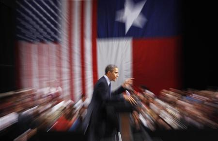 U.S. President Barack Obama speaks at a campaign event in San Antonio, Texas July 17, 2012. REUTERS/Kevin Lamarque