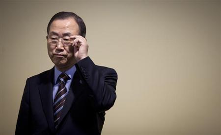 8月22日、シリアで化学兵器が使用されたとの疑惑について、国連の潘基文事務総長は、国連調査団の現地調査をシリア政府が直ちに認めるべきだと強く要請した。写真は7月、ニューヨークで撮影(2013年 ロイター/Carlo Allegri)