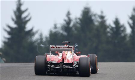 Ferrari Formula One driver Fernando Alonso of Spain drives during the first practice session of the Belgian F1 Grand Prix at the Circuit of Spa-Francorchamps August 23, 2013. REUTERS/Francois Lenoir