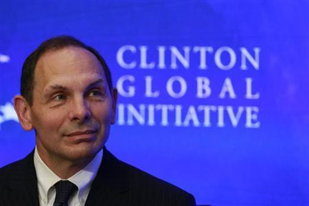 Bob McDonald, then-CEO of Procter & Gamble, looks on during a water purification event at the Clinton Global Initiative in New York, in this September 23, 2012 file photo. REUTERS/Andrew Burton