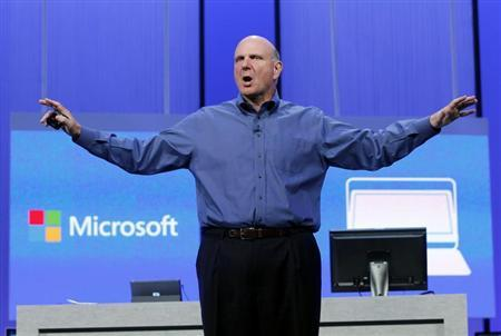 Microsoft CEO Steve Ballmer gestures during his keynote address at the Microsoft ''Build'' conference in San Francisco, California June 26, 2013. REUTERS/Robert Galbraith/Files