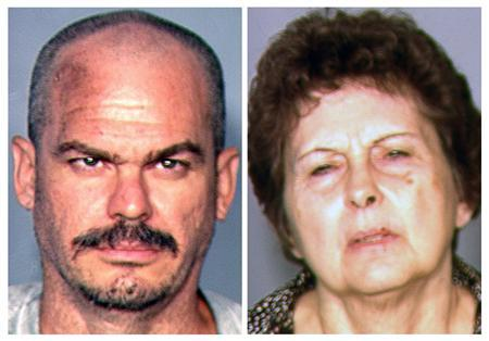 David Brutsche (L), 42, and Devon Newman, 67, are seen in undated booking photos released to Reuters by the Las Vegas Metropolitan Police Department in Las Vegas August 23, 2013. REUTERS/Las Vegas Metropolitan Police Department/Handout
