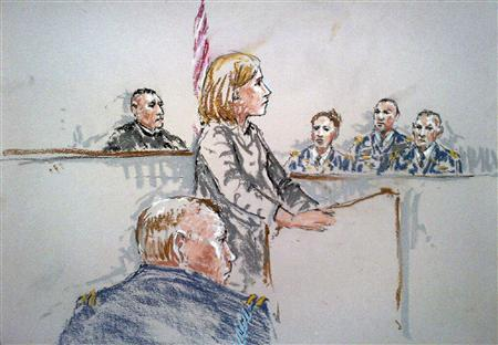 A courtroom sketch shows Army Staff Sergeant Robert Bales (front) in the courtroom as his civilian attorney Emma Scanlan (standing) speaks to the jury (R) and judge Army Colonel Jeffery Nance during his sentencing at Joint Base Lewis-McChord near Tacoma, Washington, August 22, 2013. REUTERS/Peter Millett