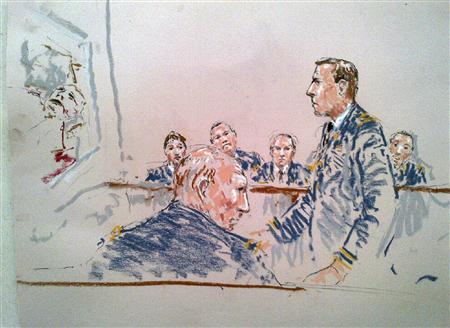 A courtroom sketch shows Army Staff Sergeant Robert Bales (front) during his sentencing as prosecutor Lieutenant Colonel Jay Morse (standing) speaks to the jury at Joint Base Lewis-McChord near Tacoma, Washington, August 22, 2013. REUTERS/Peter Millett