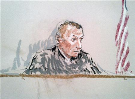 A courtroom sketch shows judge Army Colonel Jeffery Nance presiding during the sentencing of Army Staff Sergeant Robert Bales (not seen) at Joint Base Lewis-McChord near Tacoma, Washington, August 22, 2013. REUTERS/Peter Millett