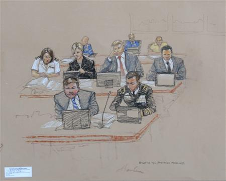In this photo of a sketch by courtroom artist Janet Hamlin and reviewed by the U.S. Department of Defense, the prosecution, including Army Brigadier General Mark Martins (front R), Chief Prosecutor of Military Commissions, observes during a pre-trail hearing at the U.S. Naval Base Guantanamo Bay, Cuba, August 20, 2013. REUTERS/Janet Hamlin