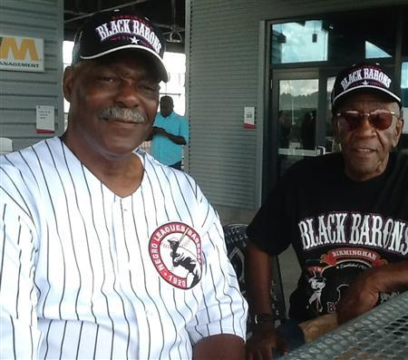 Former Negro League Baseball players Robert Vickers (L), a former catcher and pitcher (1956-1974) and Charlie Harris, a former outfielder (1962-1963) in the segregated Industrial League attend an announcement of the new Negro League Baseball Museum honoring their teams in Birmingham, Alabama, August 23, 2013. REUTERS/Verna Gates