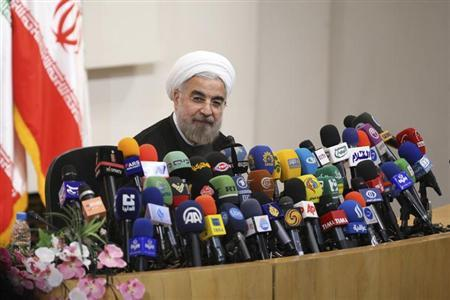 ranian President-elect Hassan Rohani speaks with the media during a news conference in Tehran June 17, 2013. REUTERS/Fars News/Majid Hagdost