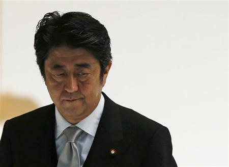 Japan's Prime Minister Shinzo Abe attends a memorial service ceremony marking the 68th anniversary of Japan's defeat in World War Two, at Budokan Hall in Tokyo August 15, 2013. REUTERS/Toru Hanai