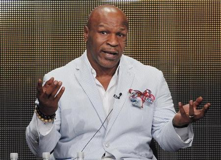 Mike Tyson, star of HBO Films ''Mike Tyson: Undisputed Truth'', takes part in a panel discussion at the Television Critics Association Cable TV Summer press tour in Beverly Hills, California July 25, 2013. REUTERS/Fred Prouser