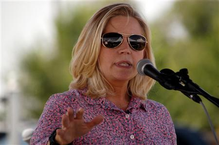 U.S. Senate candidate Liz Cheney speaks to voters during a Republican and Tea Party gathering in Emblem, Wyoming August 24, 2013. Cheney, the eldest daughter of former Vice President Dick Cheney, received a mostly warm welcome from some 300 conservative Wyoming voters on Saturday despite having committed a political gaffe by mistakenly buying the wrong fishing license. REUTERS/Ruffin Prevost