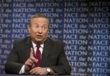 "Lawrence Summers, director of the National Economic Council makes a point on ""Face The Nation"" in Washington, April 25, 2010. REUTERS/Chris Usher-Face the Nation/Handout"