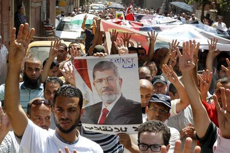 Supporters of Muslim Brotherhood and ousted Egyptian President Mohamed Mursi display a poster of Mursi as they make the ''Rabaa'' gesture, in reference to the police clearing of Rabaa Adawiya protest camp on August 14, during a protest in Cairo August 23, 2013. REUTERS/Muhammad Hamed