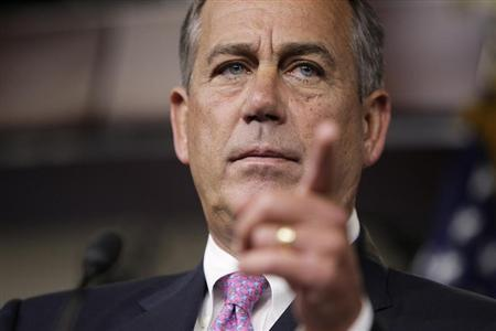 U.S. House Speaker John Boehner (R-OH) takes a question from a reporter during a news conference on Capitol Hill in Washington, June 27, 2013. REUTERS/Jonathan Ernst