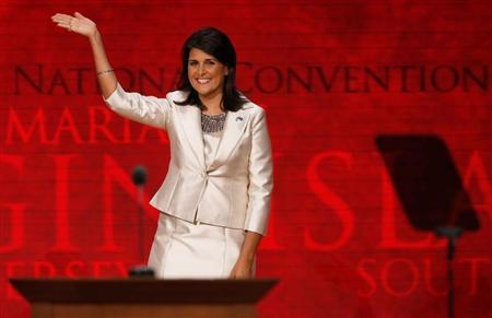 South Carolina Governor Nikki Haley waves as she arrives to address delegates during the second session of the Republican National Convention in Tampa, Florida, August 28, 2012 REUTERS/Mike Segar