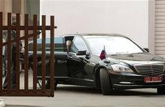 Russia's ambassador to Belarus, Alexander Surikov, sits in a car after visiting the General Prosecutor's office in central Minsk August 27, 2013. REUTERS/Vasily Fedosenko
