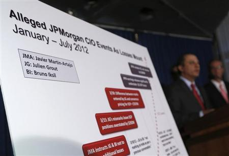 A chart showing the names of two derivative traders Javier Martin-Artajo and Julien Grout is seen during a news conference by Preet Bharara, U.S. Attorney for the Southern District of New York announcing the unsealing of charges against the two in New York August 14, 2013. REUTERS/Shannon Stapleton
