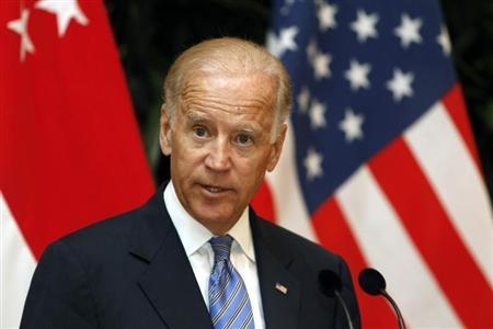 U.S. Vice President Joe Biden makes a statement to the press after his meeting with Singapore's Prime Minister Lee Hsien Loong at the Istana presidential palace in Singapore July 26, 2013. REUTERS/Tim Chong