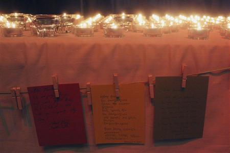 Notes and candles are seen during a vigil for Kenneth Bae in Seattle, Washington August 10, 2013. REUTERS/Matt Mills McKnight