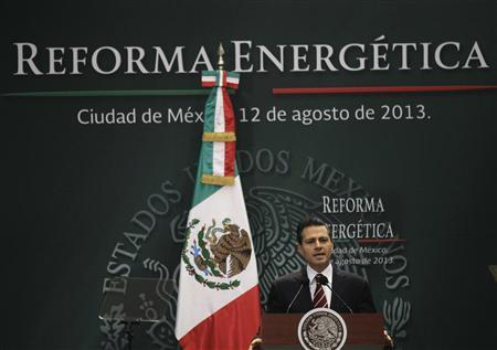 Mexican President Enrique Pena Nieto gives a speech during a proposal for energy reforms at Los Pinos presidential residence in Mexico City August 12, 2013. REUTERS/Henry Romero