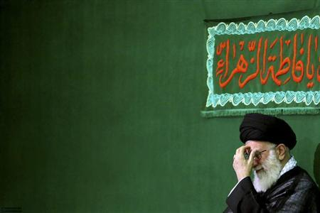 Iran's Supreme Leader Ayatollah Ali Khamenei reacts while attending a religious ceremony to commemorate the death anniversary of Fatima, daughter of Prophet Mohammad, in Tehran May 6, 2011. REUTERS/Khamenei.ir/Handout