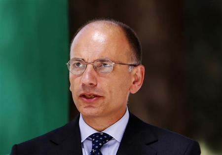 Italy's Prime Minister Enrico Letta speaks during a joint news conference with Afghanistan's President Hamid Karzai (not pictured) in Kabul August 25, 2013. REUTERS/Mohammad Ismail