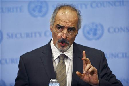 Syrian ambassador to the United Nations, Bashar Jaafari addresses the media at the United Nations Headquarters in New York August 28, 2013. REUTERS/Brendan McDermid