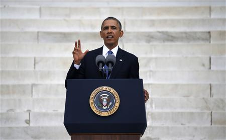 U.S. President Barack Obama speaks during a ceremony marking the 50th anniversary of Martin Luther King Jr.'s ''I have a dream'' speech on the steps of the Lincoln Memorial in Washington, August 28, 2013. REUTERS/Jason Reed