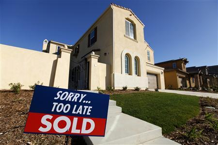 A newly built single-family home that is sold is seen in San Marcos, California, January 30, 2013. REUTERS/Mike Blake