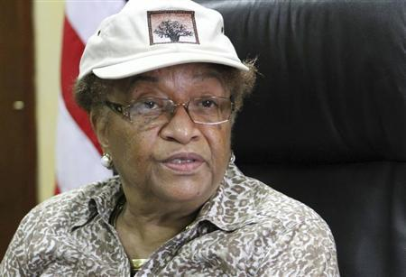 Liberia's President Ellen Johnson Sirleaf speaks during an interview with Reuters at her office in Monrivia August 17, 2013. REUTERS/Tango