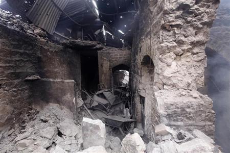 A view shows damaged shops in Al Khandaq street in Old Aleppo October 2, 2012. REUTERS/Zain Karam/Files
