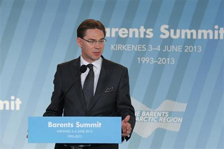 Finnish Prime Minister Jyrki Katainen speaks during the ''Barents Summit 2013'' in Kirkenes, in the extreme north east of Norway, June 4, 2013. REUTERS/Cornelius Poppe/NTB Scanpix