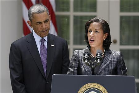 U.S. President Barack Obama listens after announcing the appointment of Susan Rice (R) as his new national security advisor, in the Rose Garden of the White House in Washington, in this June 5, 2013 file photo. REUTERS/Joshua Roberts/Files