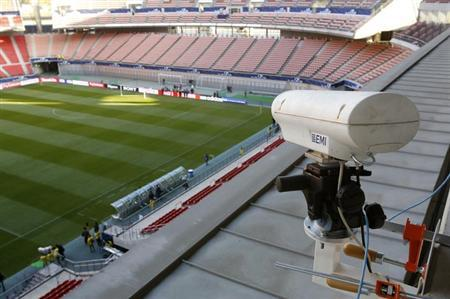 A camera used as part of the Hawk-Eye goal-line technology, which will be used in Sunday's Club World Cup quarter-finals, is pictured at the Toyota Stadium in Toyota, central Japan December 8, 2012. REUTERS/Toru Hanai/Files