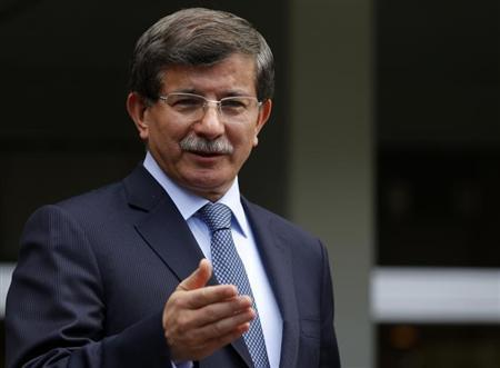 Turkey's Foreign Minister Ahmet Davutoglu addresses the media in Ankara June 13, 2013. REUTERS/Umit Bektas