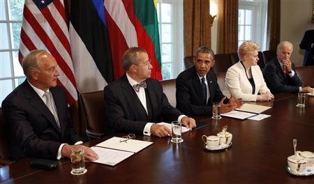 U.S. President Barack Obama speaks during a meeting with Baltic leaders in the Cabinet Room of the White House in Washington August 30, 2013. REUTERS/Kevin Lamarque
