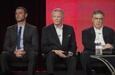 "Actors Liev Schreiber (L), Jon Voight and Elliott Gould (R) of the show ""Ray Donovan"" listen to questions on stage during the Showtime panel presentation of the 2013 Winter Television Critics Association Press Tour at the Langham Huntington Hotel in Pasadena, California, January 12, 2013. REUTERS/Bret Hartman"