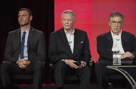 Actors Liev Schreiber (L), Jon Voight and Elliott Gould (R) of the show ''Ray Donovan'' listen to questions on stage during the Showtime panel presentation of the 2013 Winter Television Critics Association Press Tour at the Langham Huntington Hotel in Pasadena, California, January 12, 2013. REUTERS/Bret Hartman
