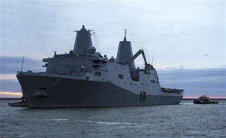 The amphibious transport dock ship USS San Antonio (LPD 17) departs Naval Station Norfolk in Norfolk, Virginia October 31, 2012 in this handout photo supplied by the U.S. Navy November 1, 2012. REUTERS/James DeAngio/U.S. Navy/Handout