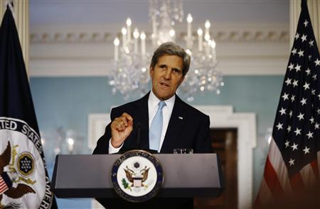 U.S. Secretary of State John Kerry speaks about the situation in Syria at the State Department in Washington, August 30, 2013. REUTERS/Jason Reed