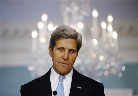 U.S. Secretary of State John Kerry delivers remarks on the situation in Syria at the State Department in Washington, August 30, 2013. REUTERS/Jason Reed