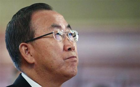 U.N. Secretary General Ban Ki-moon listens during a ceremony at the city hall in Vienna August 29, 2013. REUTERS/Heinz-Peter Bader