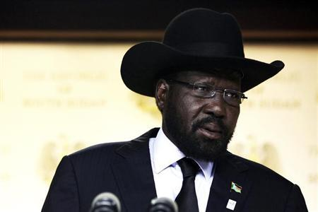 South Sudan's President Salva Kiir delivers a speech in the capital Juba, June 10, 2013. REUTERS/Andreea Campeanu