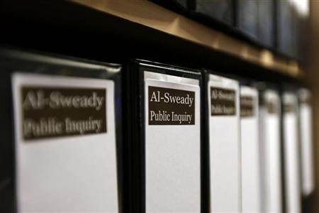 Files are seen at the venue of the Al-Sweady Inquiry is seen on the first day of the inquiry, in central London March 4, 2013. REUTERS/Stefan Wermuth