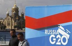 Faixa da cúpula do G20 em estação portuária na margem do rio Neva em São Petersburgo, 1º de setembro de 2013. Líderes do G20 irão discutir as preocupações com a volatilidade e o câmbio de mercados emergentes na reunião do grupo nesta semana, na cidade russa de São Petersburgo, disse uma autoridade alemã nesta segunda-feira. REUTERS/Alexander Demianchuk